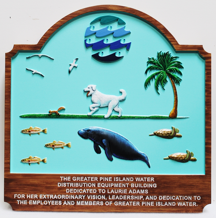 L21400 - Carved 3D  Bas-Relief Commercial Sign for a Water Company,  witha  Dog,  Sea Turtles, a Manateeand Seagulls as Artwork
