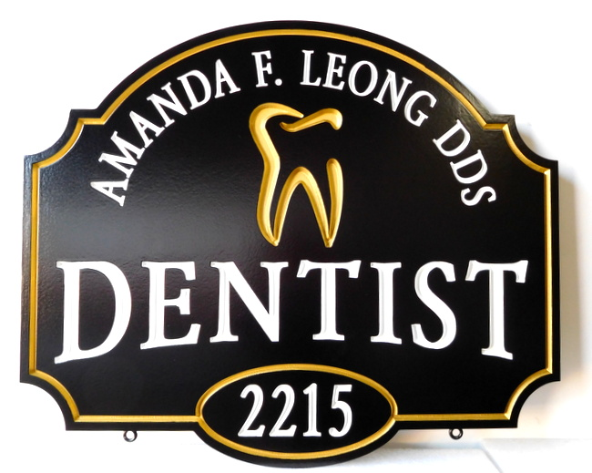 BA11519 -  Elegant Carved HDU Dentist Sign, with Stylized Molar as Artwork