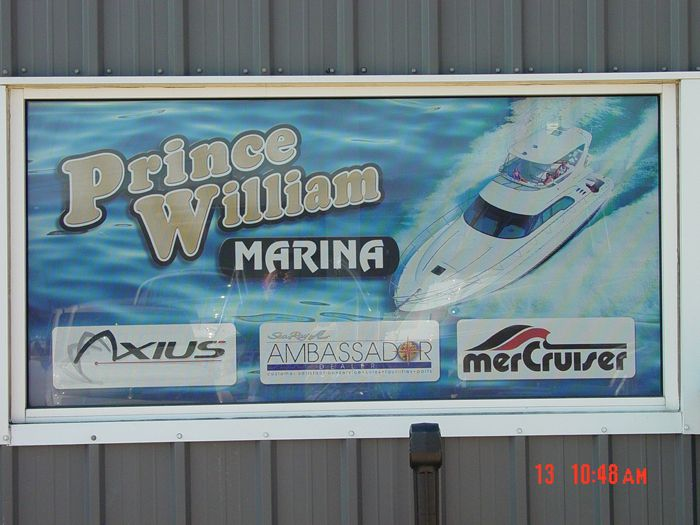 Prince William Marina Storefront Sign