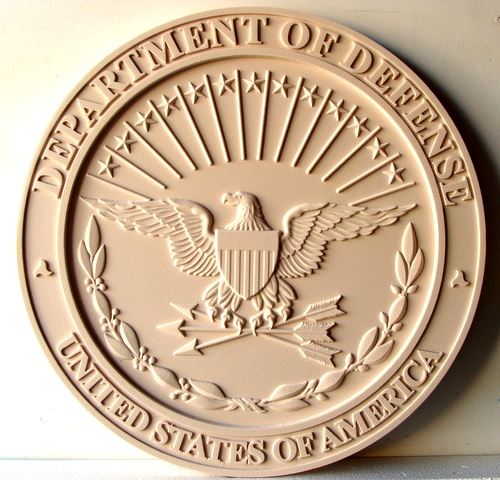 V31118 - Department of Defense Great Seal Wall Plaque, Carved in 3D (Unpainted)
