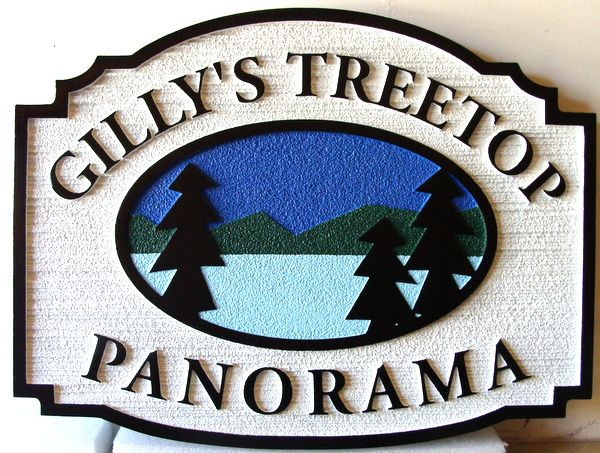 "M22321 - Sandblasted Lake Cabin Sign, with Mountains, Lake and Trees "" Gilly's Treetop Panorama"""