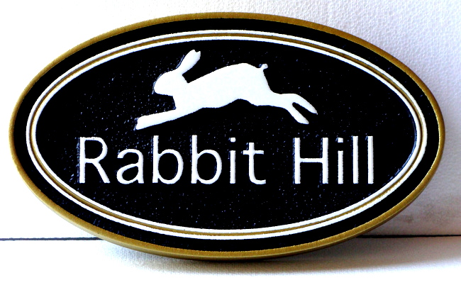 "I18564 - Carved HDU Property Name Sign ""Rabbit Hill"", with Running Rabbit"