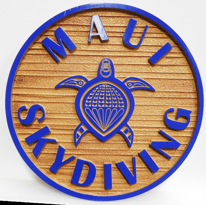 SA28458 - Carved Sandblasted Wood Grain Sign  for Maui Skydiving,  2.5-D Artist Painted with Sea Turtle as Artwork