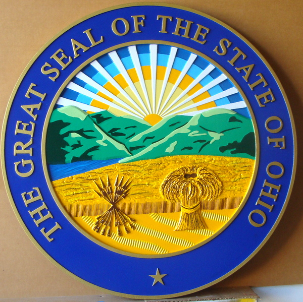 W32400A –Carved 3D HDU Hand-painted Full Color Great Seal of the State of Ohio (Official version)