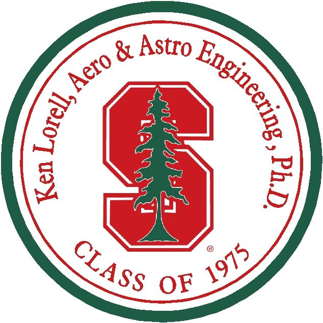 CG308 -Carved Custom  Round Wall Plaque of Seal of any University, College, or School - Example, Stanford University