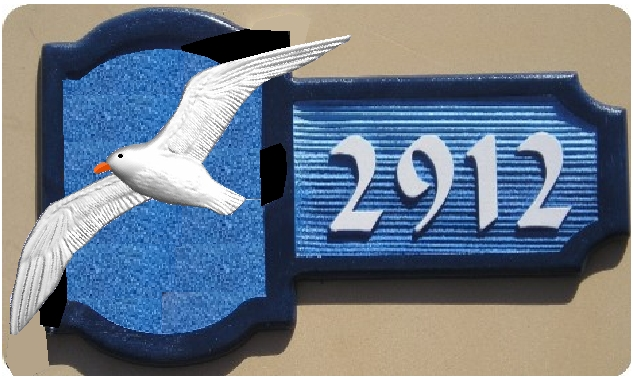 M2190 - Flying Seagull Address Plaque for Seashore Home
