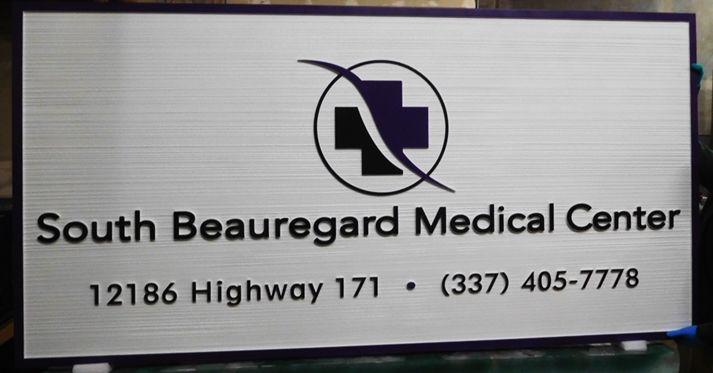 "B11052 -  Carved and SandblastedWood Grain  Sign for the ""South Beauregard Medical Center"""