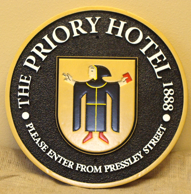 """SA28522 -  """"The Priory Hotel""""  Carved HDU Sign , with Monk Logo as Artwork"""