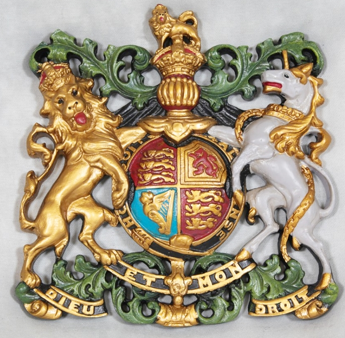 SP-1110 - Carved Wall Plaque of Coat-of-Arms / Crest,  Artist Painted in Metallic Gold