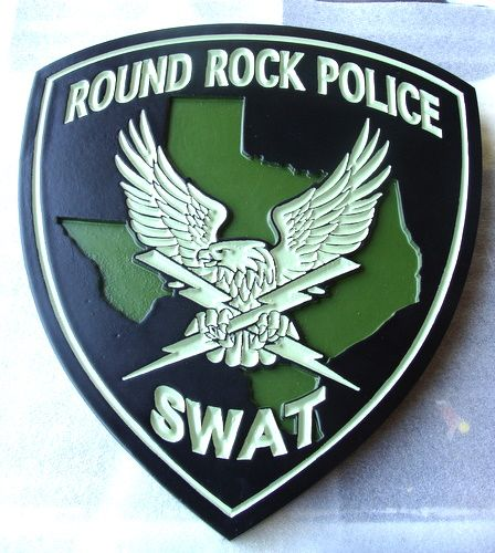 X33704 - Carved Wood Wall Plaque of the Shoulder Patch for the Round Rock Police Department SWAT Team