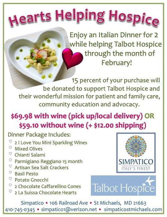 Hearts Helping Hospice Italian Dinner Boxes from Simpatico in St. Michaels!