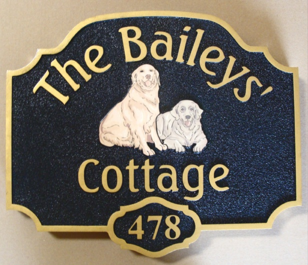 I18602 - Cottage HDU Sign, Flat Art (Dogs)