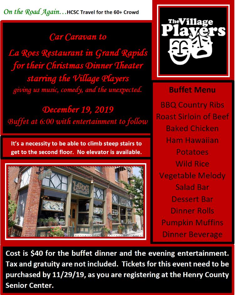 Dec. 19 La Roe's Mystery Dinner Theater
