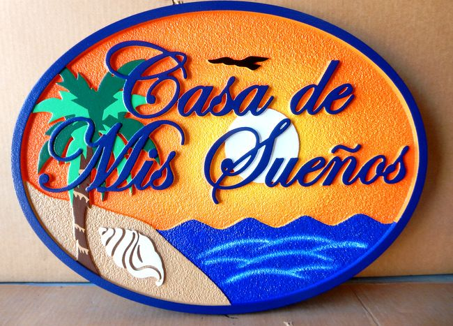 "L21210 - Sign for ""Casa de Mis Suenos"" with Setting Sun,Ocean, Palm Tree, Sand and Shell"