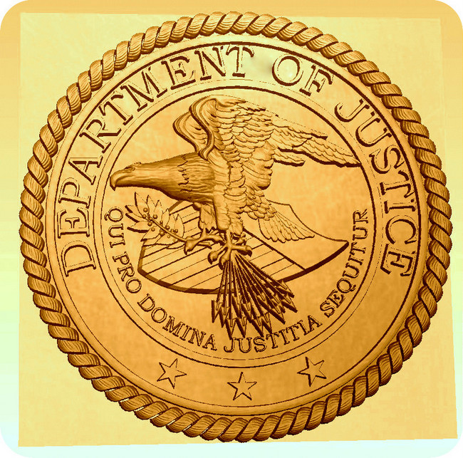 U30192 - Gold Painted 3D Carved HDU Wall Plaque for Department of Justice Great Seal