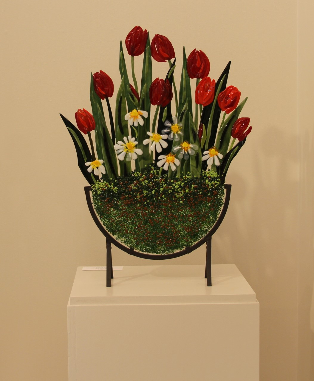 Ten Tulips and Daisies in Stand
