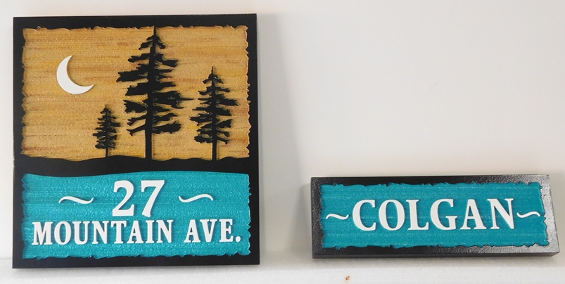 M22059 - Carved and Sandblasted Wood Grain Two-piece Cabin Address Sign with Two Pine Trees in Silhouette and Moon