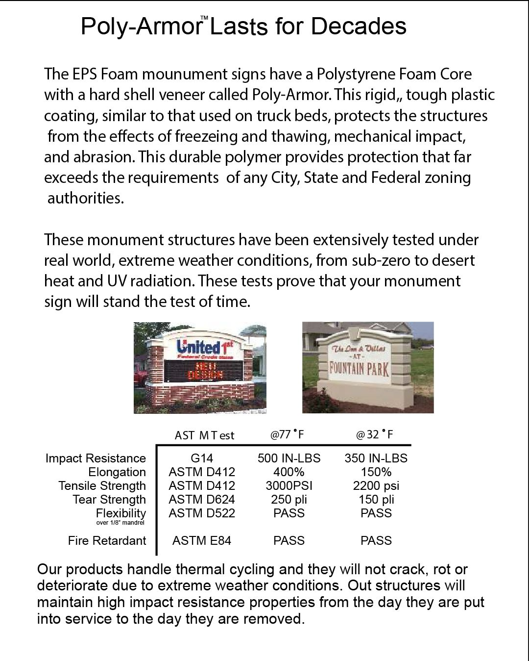 M6703 - EPS Monument Signs Have a Hard, Tough, Weatherproof PolyArmor Hard Shell (physical properties)