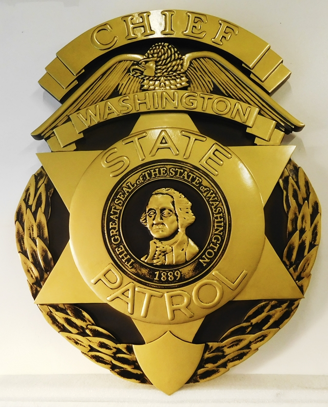 PP-1510 - Carved Wall Plaque of the Police  Badge of  the  Chief of the Washington State Patrol,  Painted Metallic Gold