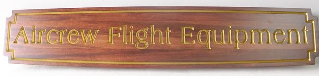 """V31684 - Carved and  Stained Cedar Sign with the Text """"Aircrew Flight Equipment"""""""
