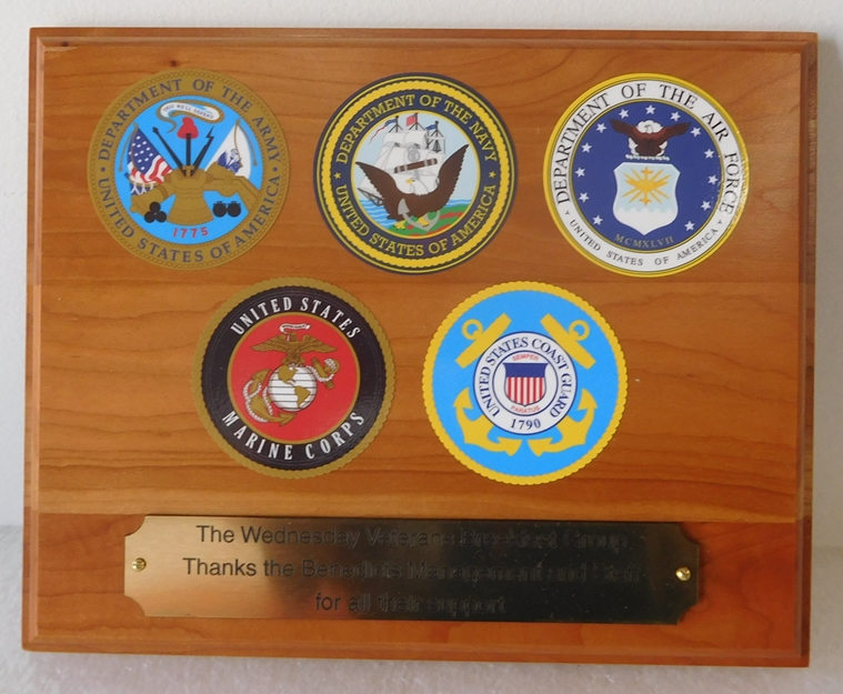 V31009 - Mahogany Plaque with Printed Vinyl Seals of the 5 Armed Forces
