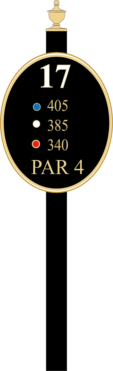 E14370 -  Elliptical Golf Tee Sign with Steel Post