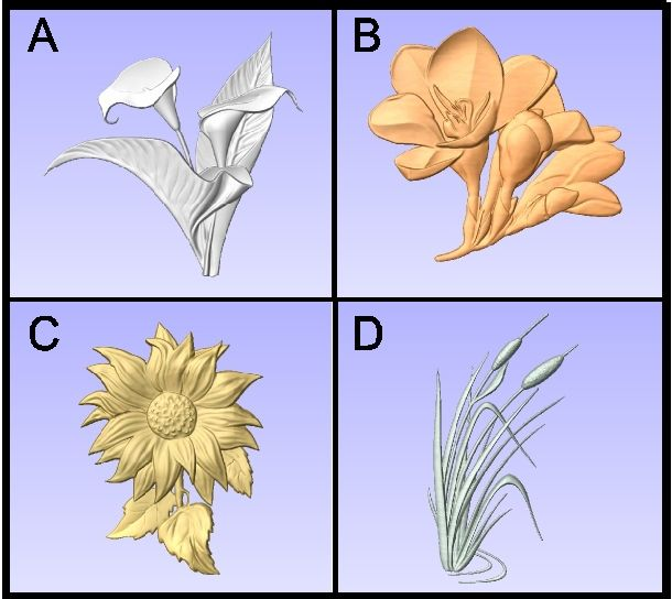 GA16737 - Carved  3-D Plant Signs for Calla Lilly, Freesia, Daisy and Water Reed