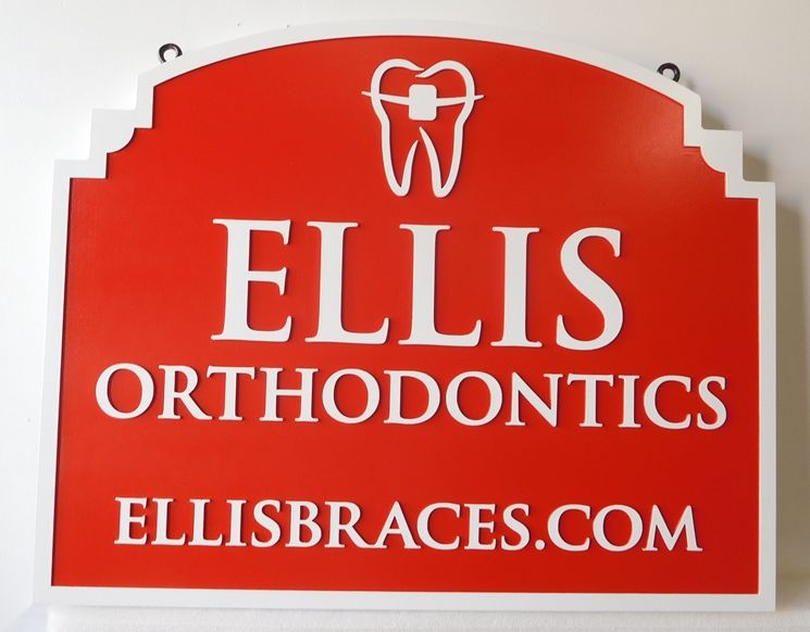 "BA11546 - Carved HDU Sign for the Office of ""Ellis  Orthodontics "", 2.5-D Artist-Painted"