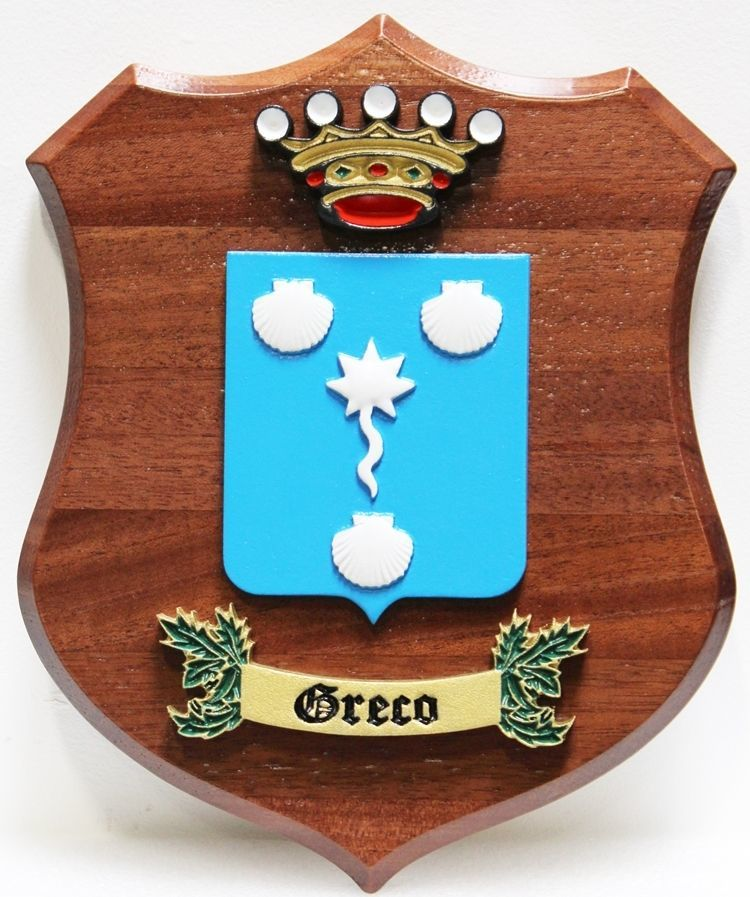 XP-2170 - Coat-of-Arms with a Crown, Seashells, and a Banner Mounted on a Mahogany Shield Plaque