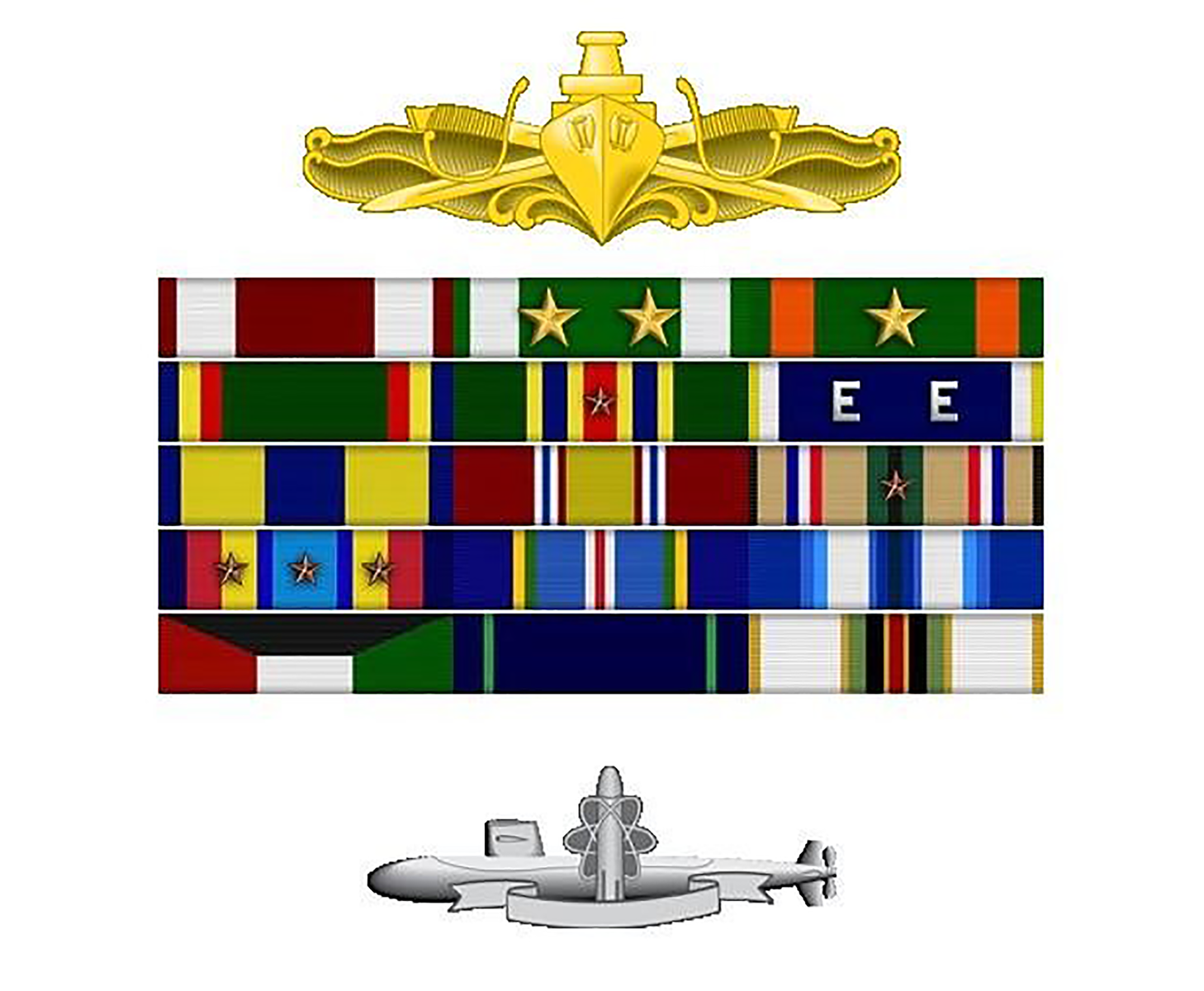 Service medals: Meritorious Service medal; Navy Commendation medal (two stars representing second, third awards); Navy Achievement medal; Navy Unit Commendation; Navy Meritorious Unit Commendation; Navy Expeditionary medal; National Defense Service Medal.