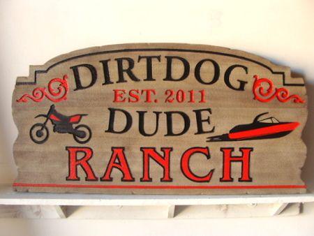 O24951 - Carved Cedar Dude Ranch Sign