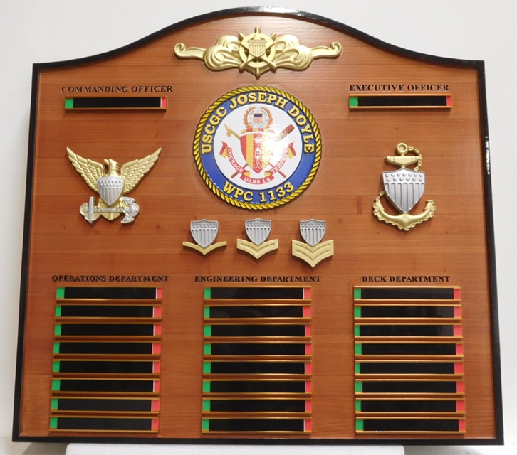 NP-2427 - Carved Command Board with Engraved  Brass Plates Names of for Ship's Crew, 3-D Crest, Badges and Insignia