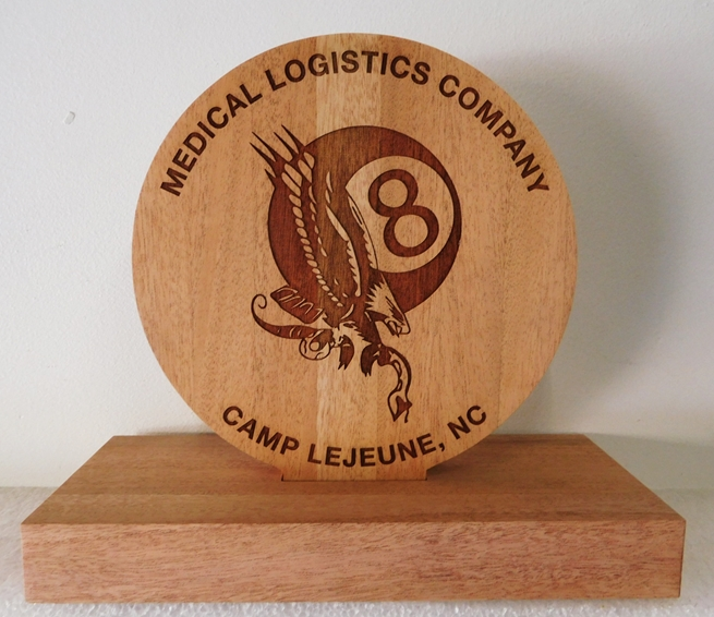 JP-2725 - Desk Plaque for Medical Logistics Company at Camp Lejeune, Laser Engraved Mahogany