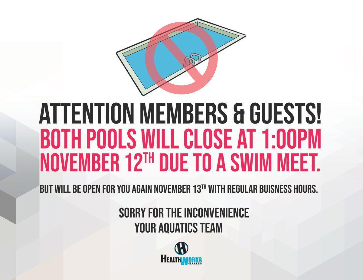 Pool Closing at 1pm