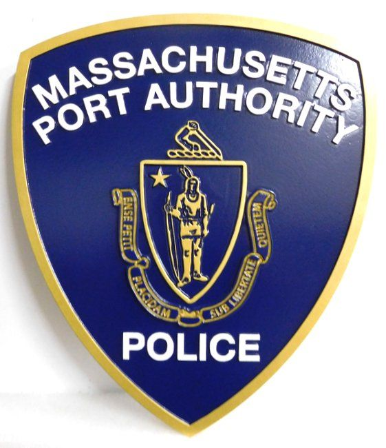 PP-2100 - Carved  Wall Plaque of the Shoulder Patch of the Massachusetts Port Authority Police, 2.5-d Artist Painted