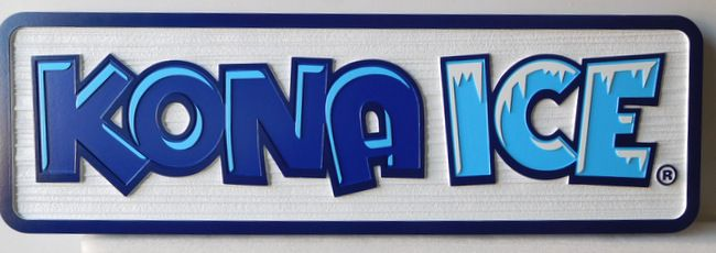 Q25837 -Wood Grain,Carved HDU Sign with Outline Dimensional Letters and Icicle Artwork for Kona Ice Company