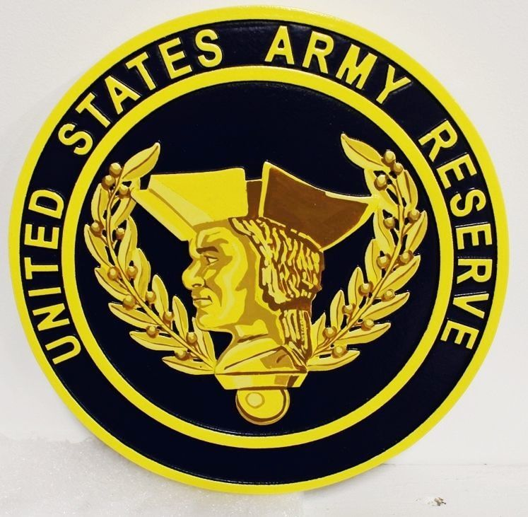 MP-1288- Carved Plaque of the Seal of the  US Army Reserve,  2,5-D  Artist Painted