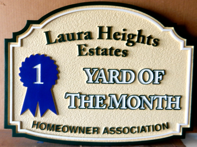 KA20913 - Carved Sandblasted HDU Yard-of-the-Month Sign with First Prize Blue Ribbon