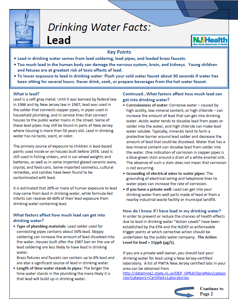 Facts about Lead in Drinking Water