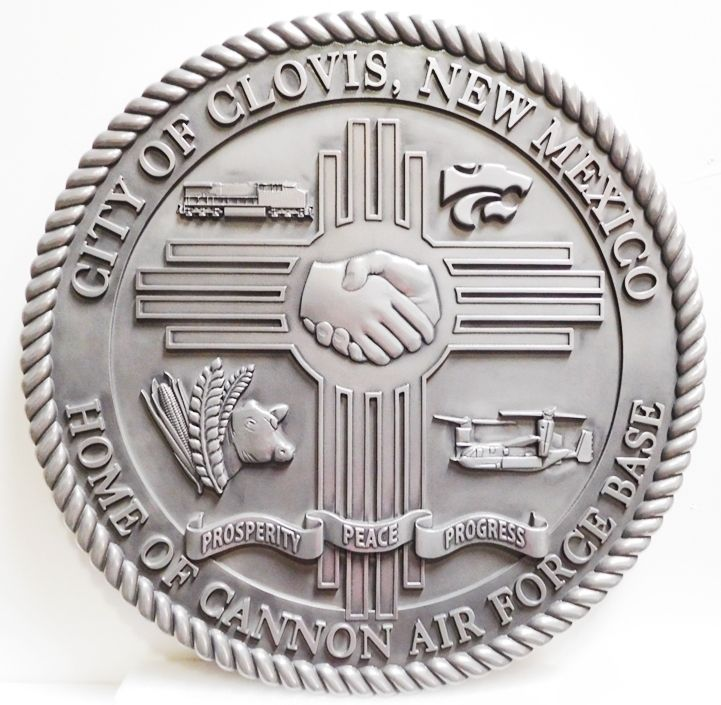 DP-1275 - Carved Plaque of the Seal of the City of Clovis, New Mexico, Aluminum-Plated