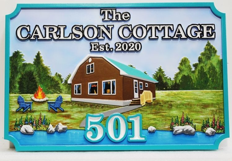 "M22361 - Carved 2.5-D Multi-level Relief HDU Lake Residence Name  Sign ""Carlson Cottage"""