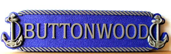 """L21880 - Quarterboard Sign """"Buttonwood""""  for Coastal Home, with Anchors and Rope Border"""