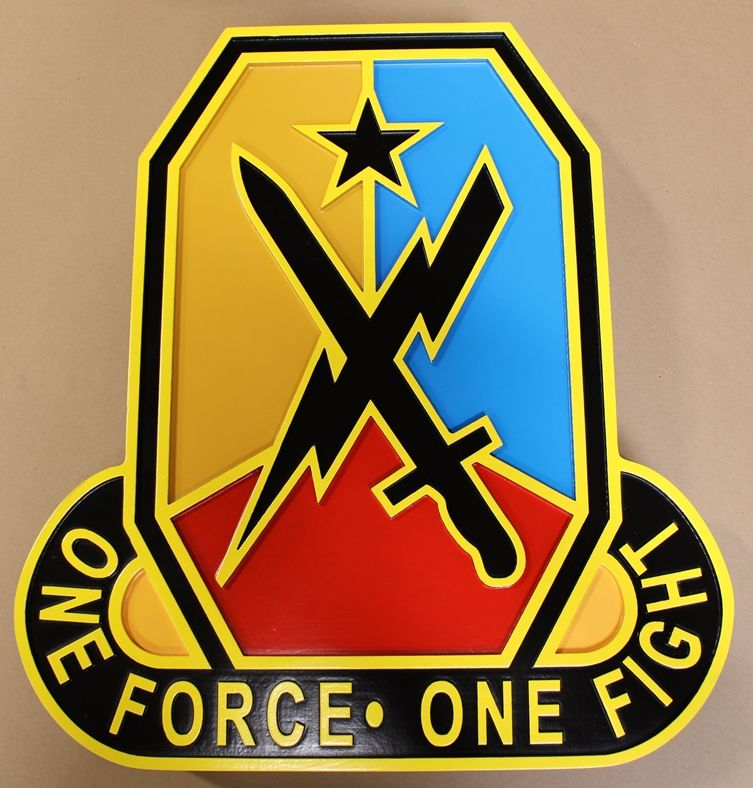 "MP-1600 -Carved HDU Wall Plaque of  the Crest  of the Maneuver Center of Excellence  Fort Benning  , ""One Force One Fight"""