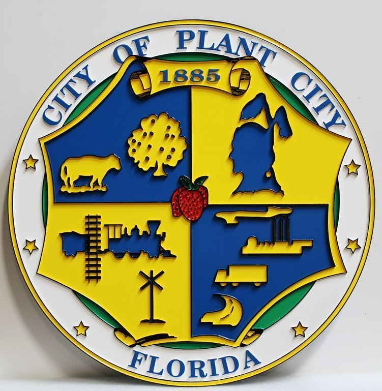 X33239 - Caved 2.5-D HDU Plaque of the Seal of the City of Plant City