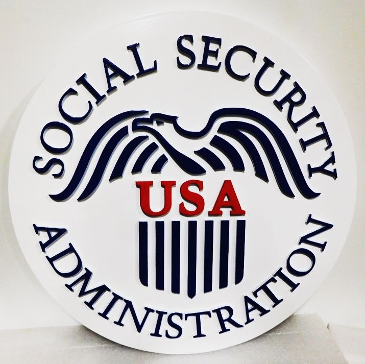 AP-6625 -  Carved Wall Plaque made for the  Social Security Administration, 2.5-D Raised Relief
