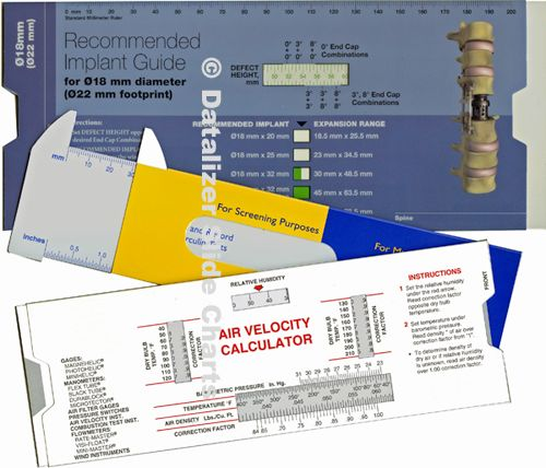 Folded Plastic Slide Chart Reference Tools