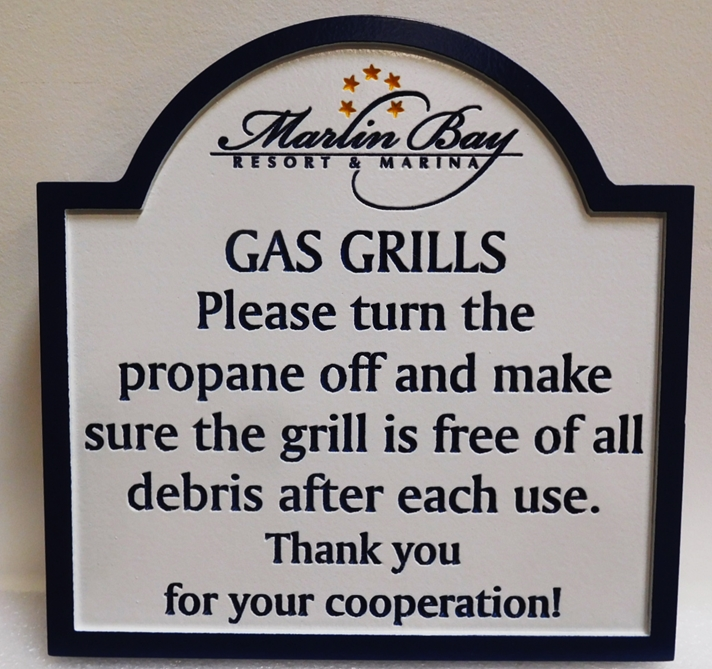"KA20262 - Engraved High-Density-Urethane (HDU)  ""Gas Grills"" Rules Sign for the Marlin Bay Resort & Marina, 2.5-D Engraved"