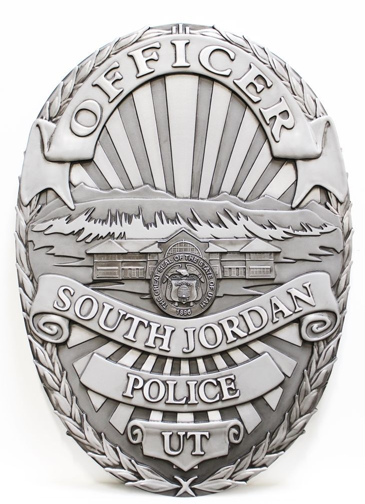 PP-1474 - Carved 3-D HDY Wall Plaque of the Badge of Police Officer, South Jordan , Utah