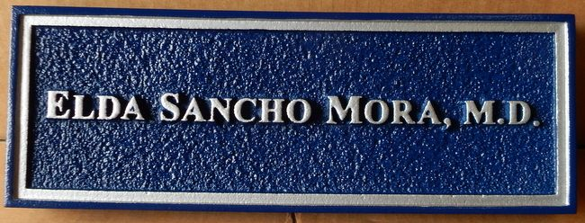 B11070  - Sandblasted, Sandstone-Look Nameplate for a Medical Doctor with Color-Matched Text and Trim