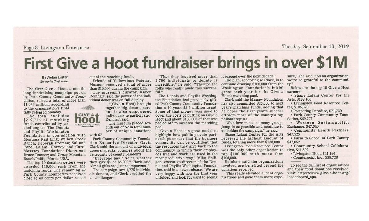 First Give A Hoot fundraiser brings in over $1M